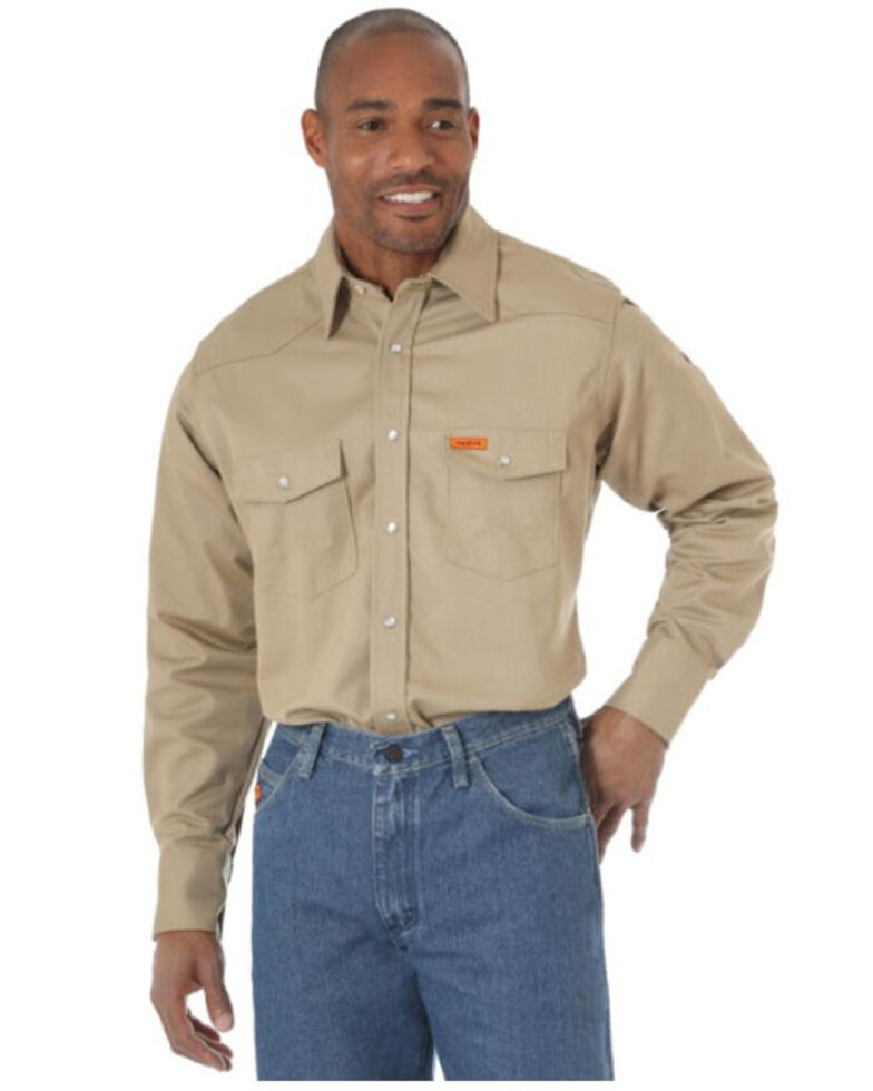 Wrangler Men's FR Khaki Long Sleeve Button-Down Work Shirt - Tall, Beige/khaki, hi-res