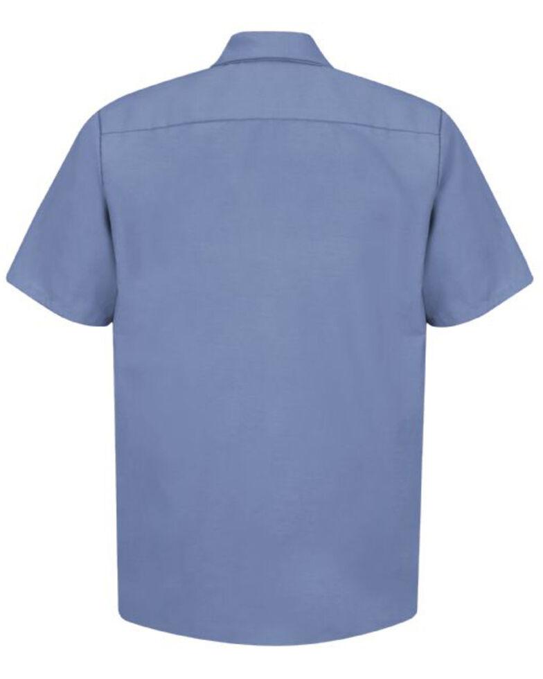 Red Kap Men's Blue Solid Industrial Short Sleeve Work Shirt - Tall , , hi-res