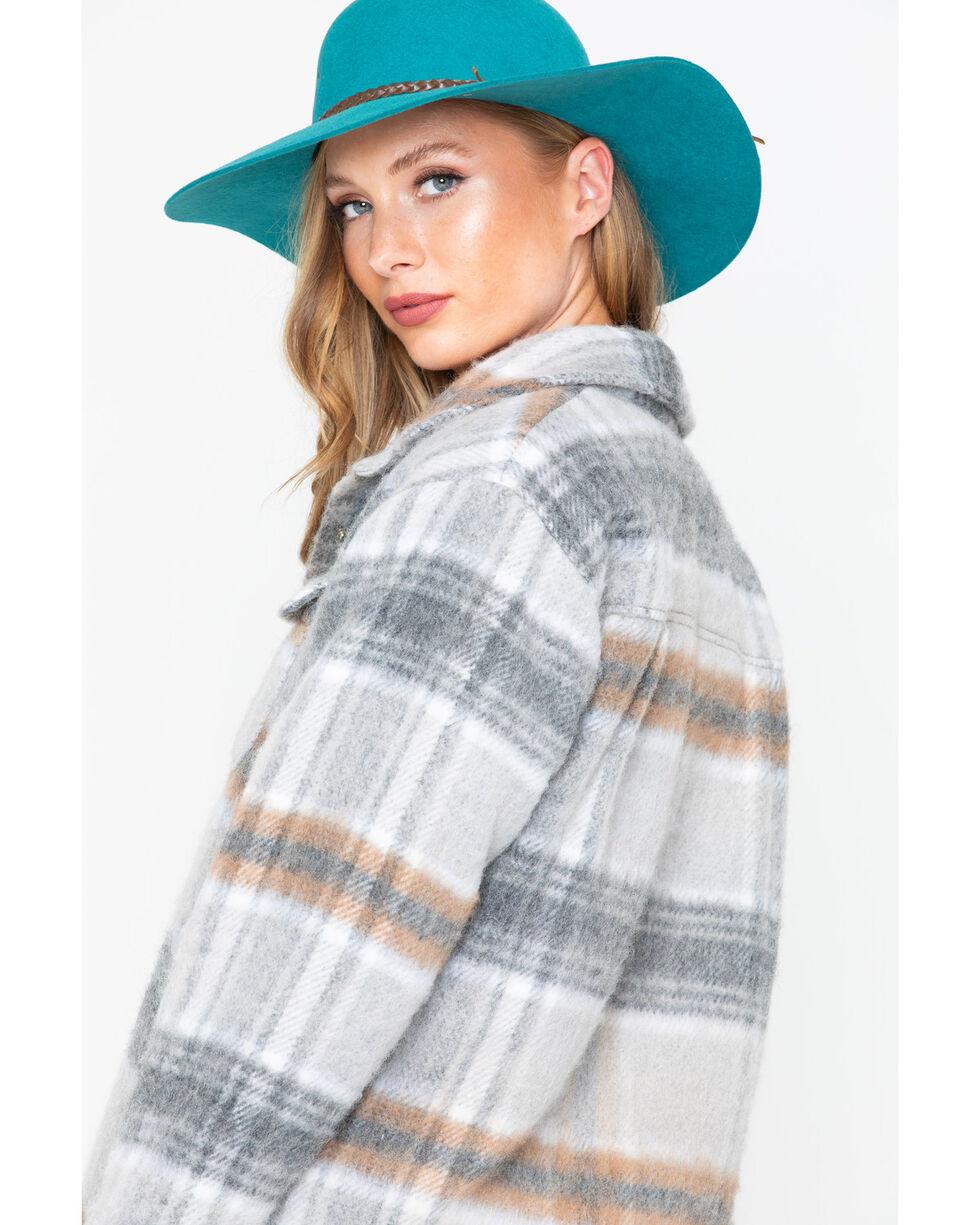 Miss Me Women's Plaid Jacket, Grey, hi-res