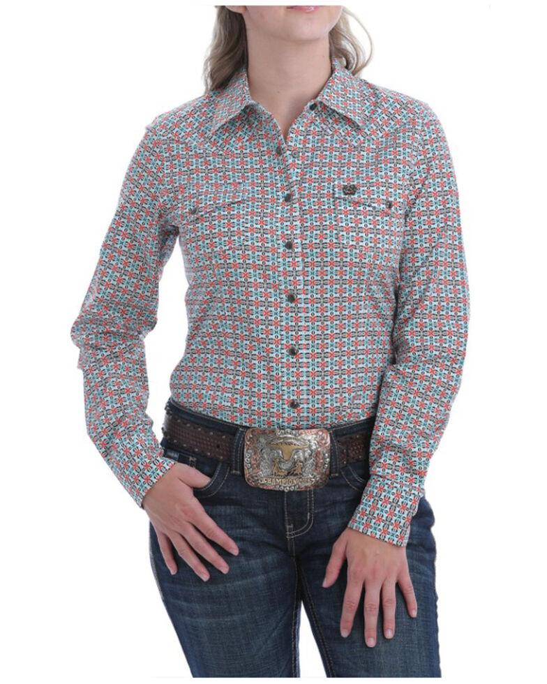 Cinch Women's Teal Geo Snap Long Sleeve Western Shirt, Coral, hi-res