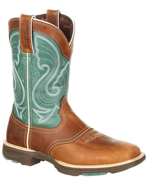 Durango Women's Emerald Saddle Western Boots - Square Toe, Brown, hi-res