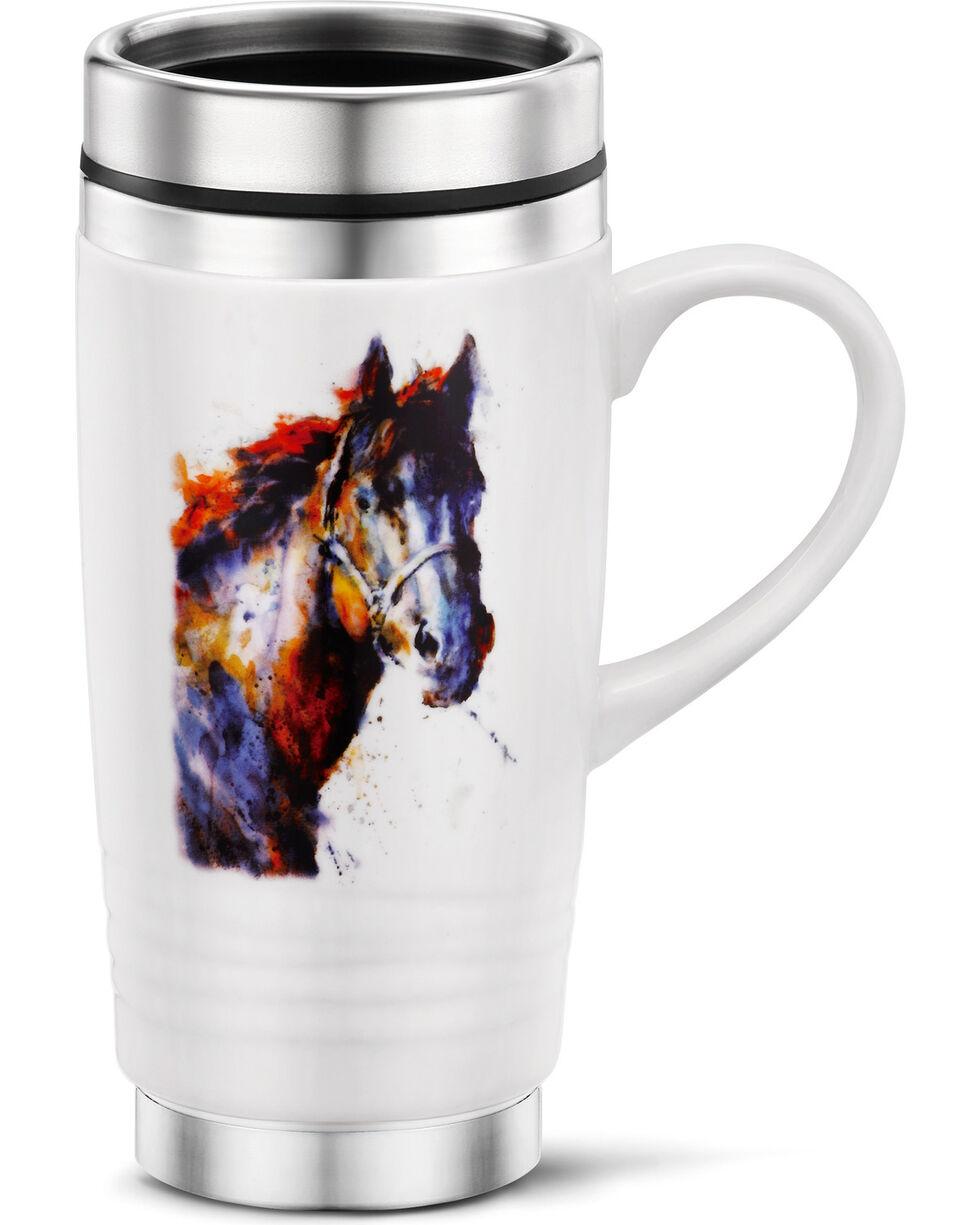 Big Sky Carvers Horse Portrait Traveler Mug, White, hi-res