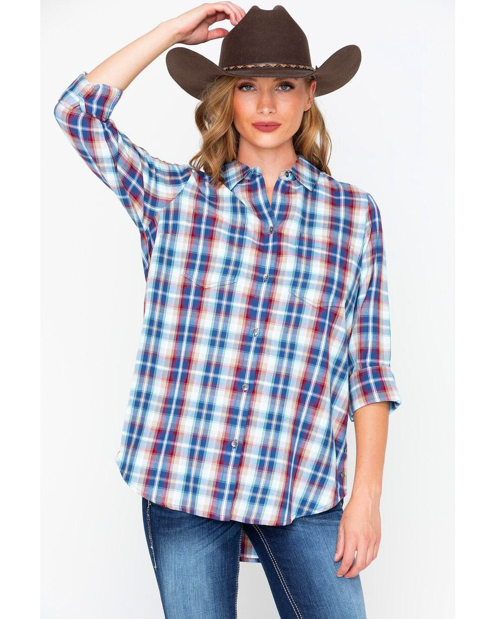 Ariat Women's Multi Plaid Button Side Shirt , Multi, hi-res