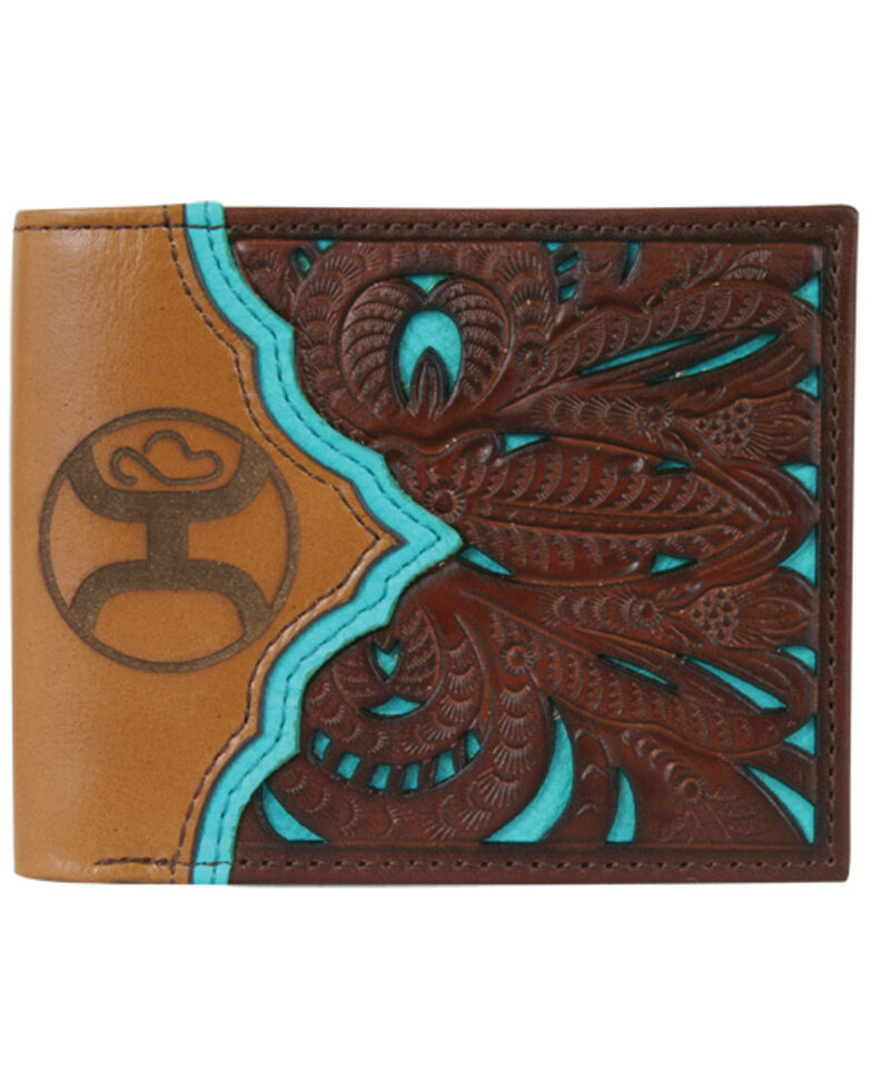 HOOey Men's Sign Bifold Tooled Wallet, Dark Brown, hi-res