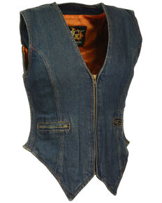 Milwaukee Leather Women's Side Stretch Zipper Front Denim Vest, Blue, hi-res