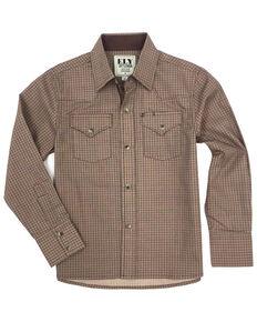 Ely Cattleman Boys' Khaki Geo Print Long Sleeve Western Shirt , Beige/khaki, hi-res