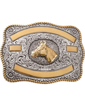 M&F Western Two-tone Horse Belt Buckle, Silver, hi-res