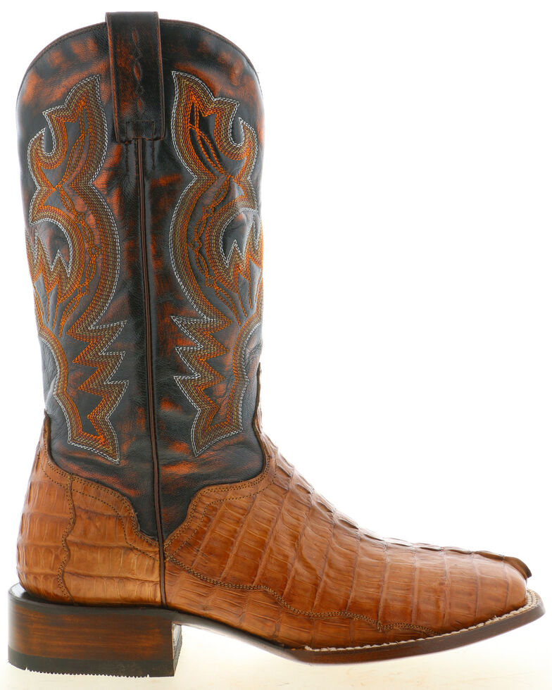 El Dorado Men's Caiman Tail Western Boots - Wide Square Toe, Tan, hi-res