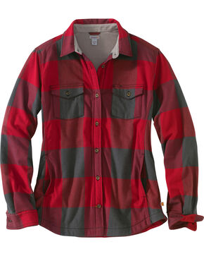 Carhartt Women's Dark Crimson Rugged Flex Hamilton Fleece Lined Shirt, Dark Red, hi-res
