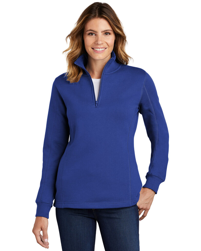 Sport Tek Women's 1/4 Zip Front Work Pullover , Royal Blue, hi-res