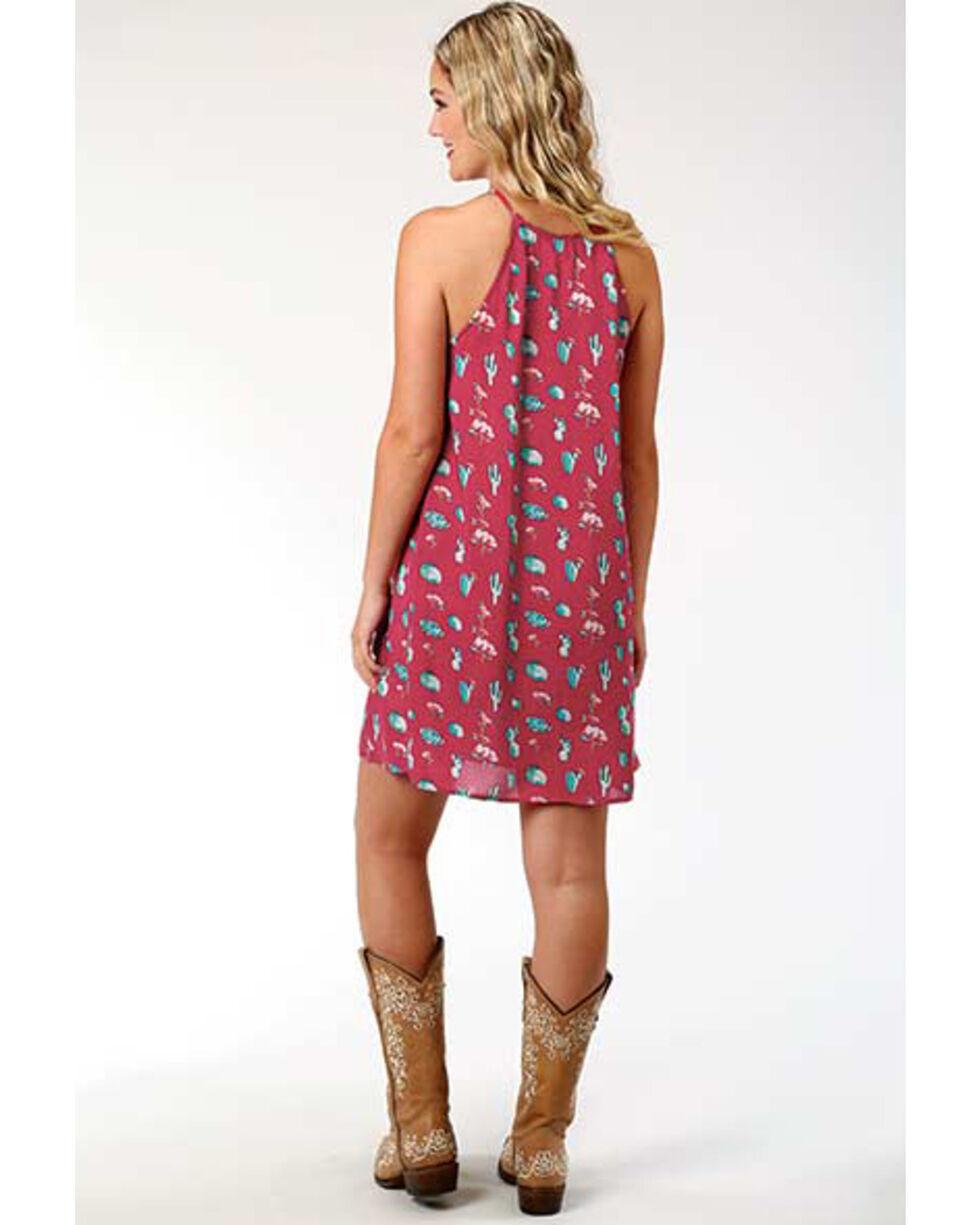 Roper Women's Cactus Print Trapeze Dress, Red, hi-res