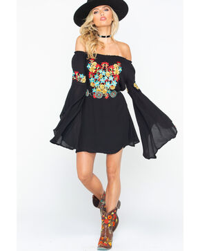 Rock & Roll Cowgirl Bright Floral Embroidery Dress, Black, hi-res