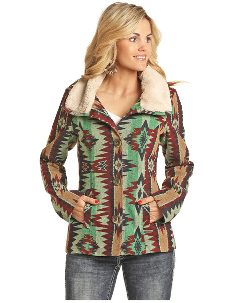 Powder River Outfitters Women's Multi Aztec Print Sherpa Lined Jacket , Multi, hi-res