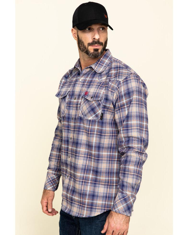 Ariat Men's FR Navy Everest Retro Plaid Long Sleeve Work Shirt , Navy, hi-res