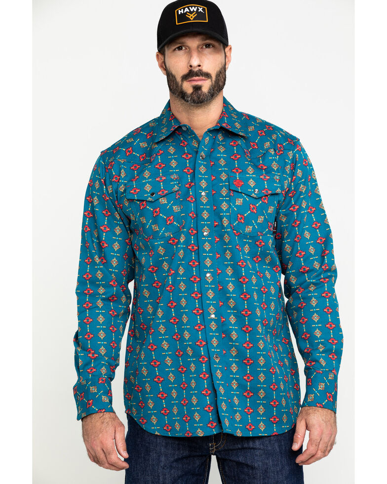 Ariat Men's FR Rio Retro Geo Print Long Sleeve Work Shirt , Blue, hi-res