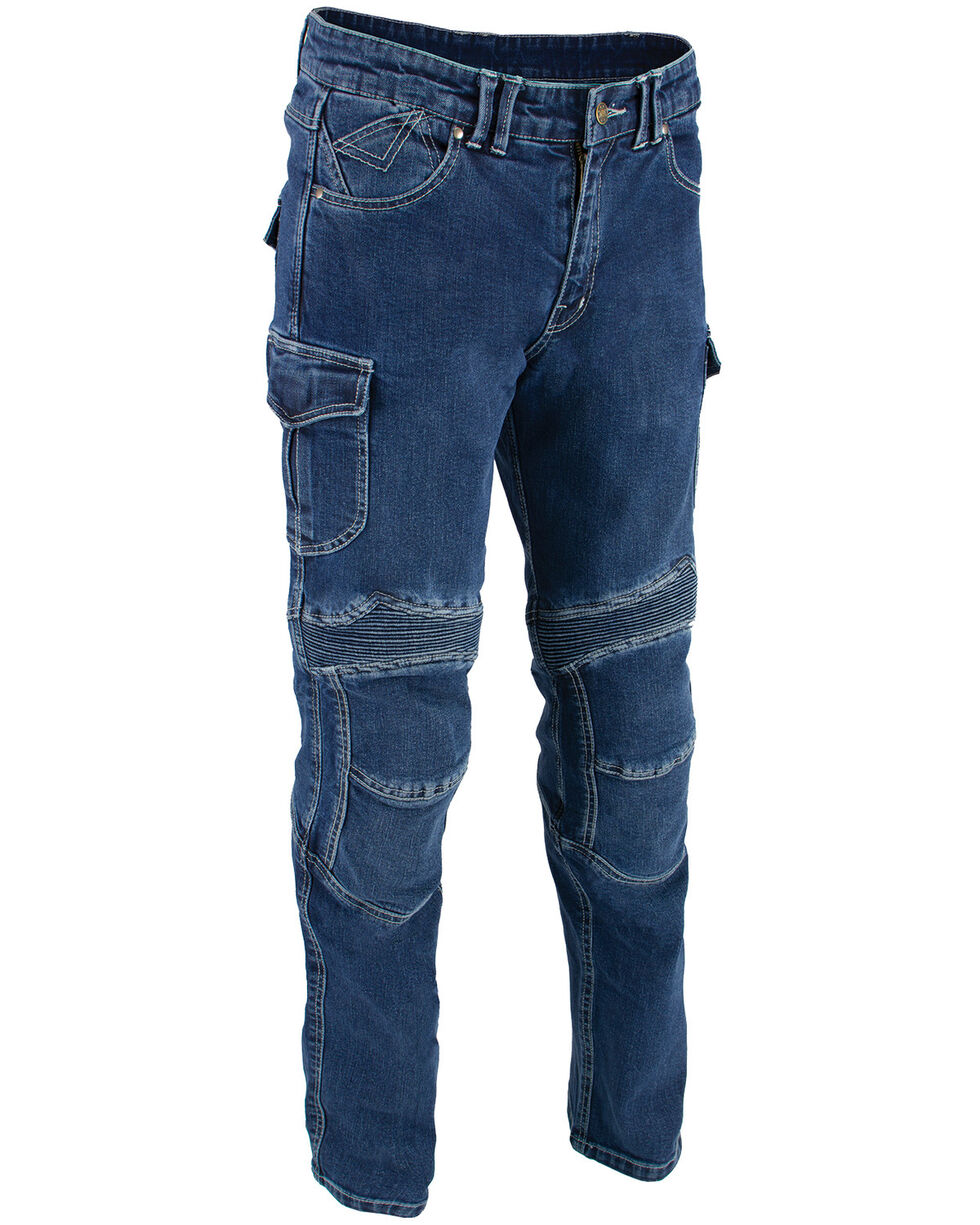 "Milwaukee Leather Men's Blue 32"" Aramid Reinforced Straight Cut Denim Jeans - XBig, Blue, hi-res"
