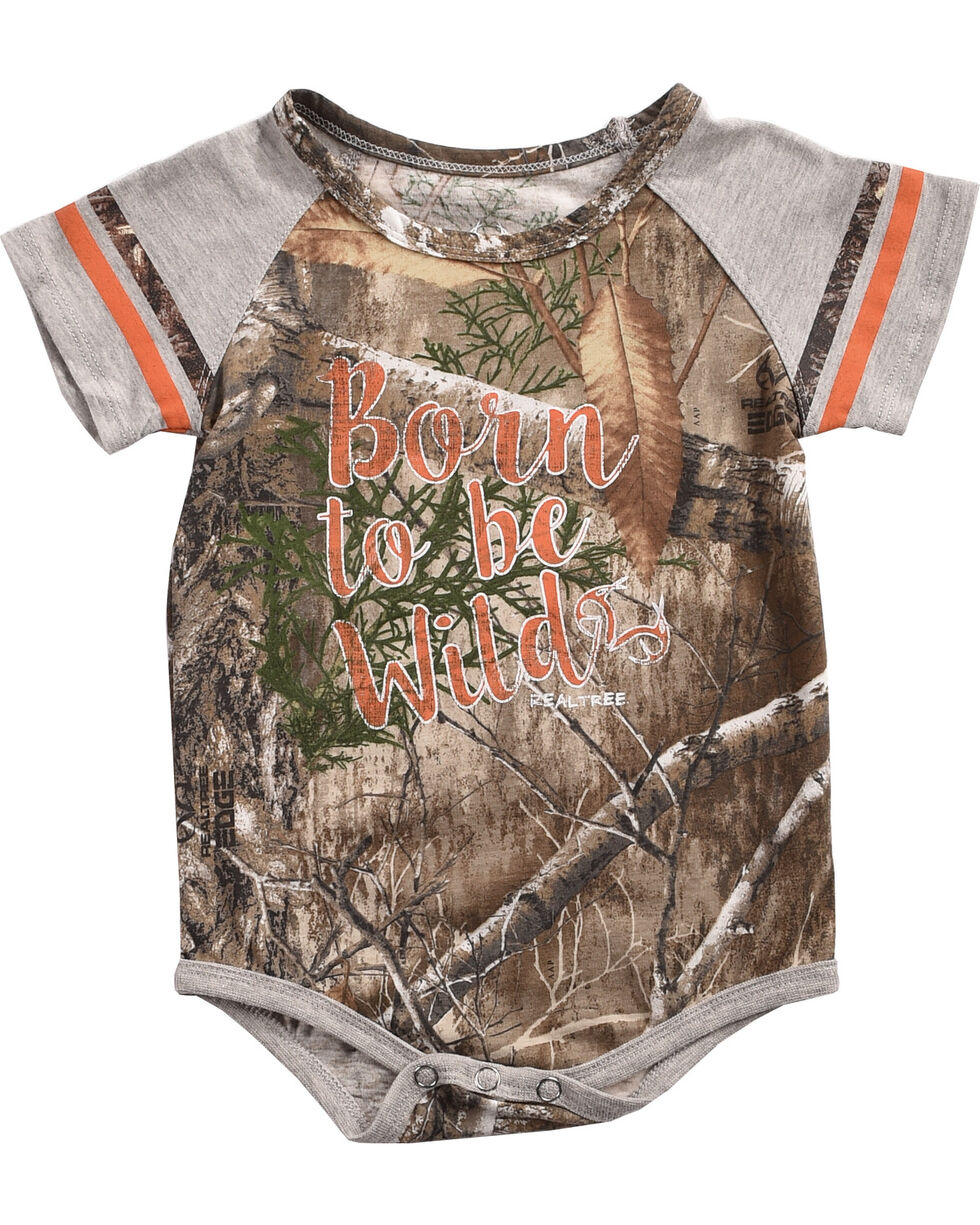 Realtree Infants' Born To Be Wild Onesie and Bib Set, Camouflage, hi-res