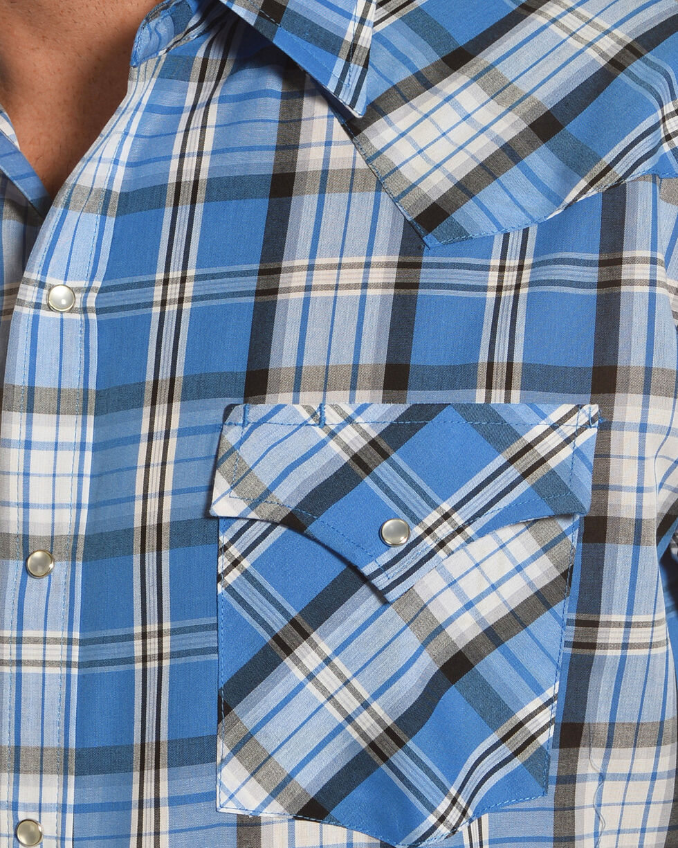 Ely Cattleman Men's Blue Plaid Texture Shirt , Blue, hi-res