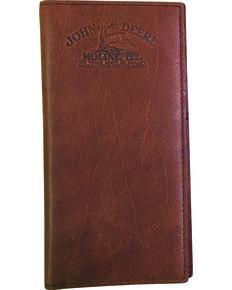 John Deere Men's Vintage Leather Logo Checkbook, Brown, hi-res