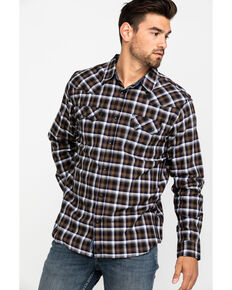 Moonshine Spirit Men's Terrain Ombre Plaid Long Sleeve Western Shirt , Navy, hi-res