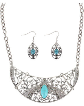 Shyanne® Women's Turquoise Jewelry Set, Silver, hi-res