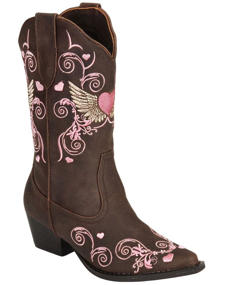 Roper Kid's Winged Heart Western Boots, Brown, hi-res