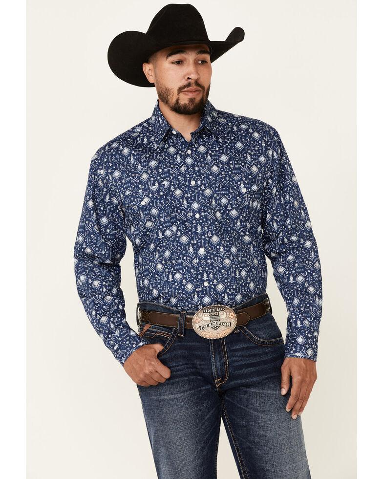 Rough Stock By Panhandle Men's Navy Aztec Geo Print Short Sleeve Snap Western Shirt , Navy, hi-res