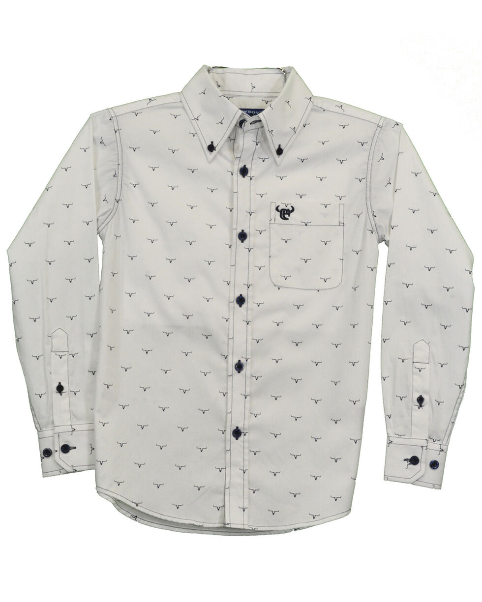 Cowboy Hardware Boys' Ghost Steer Print Long Sleeve Western Shirt , White, hi-res