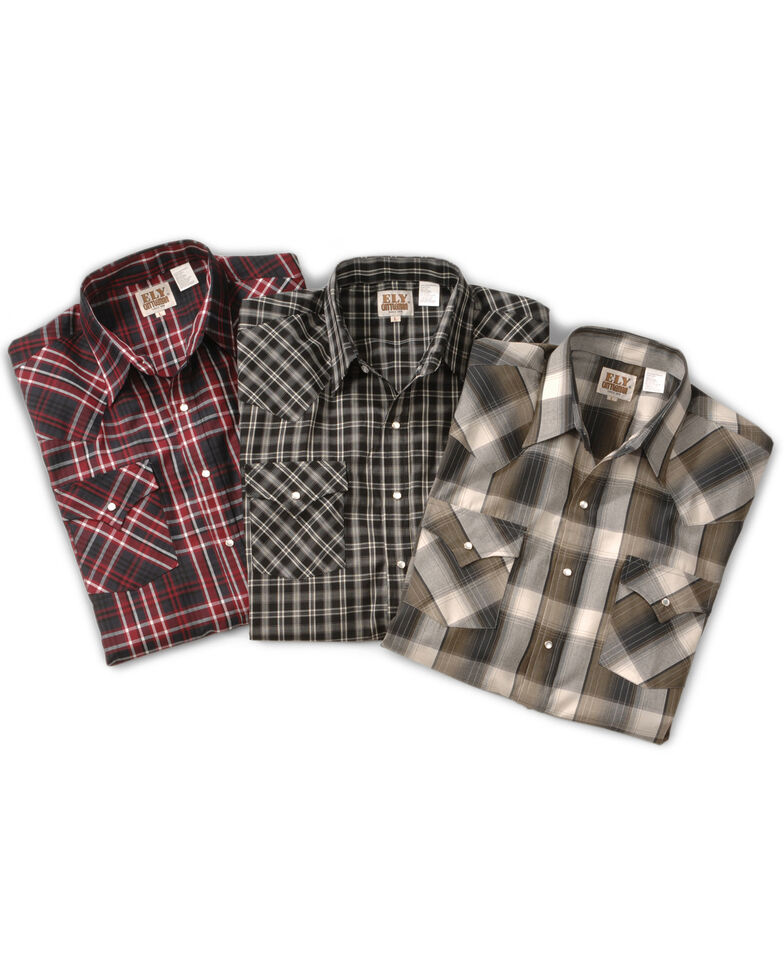 Ely Cattleman Men's Assorted Plaid Western Shirt, Plaid, hi-res