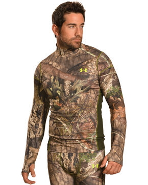 Under Armour Men's ColdGear Infrared Scent Control Camo Mock Top, Mossy Oak, hi-res