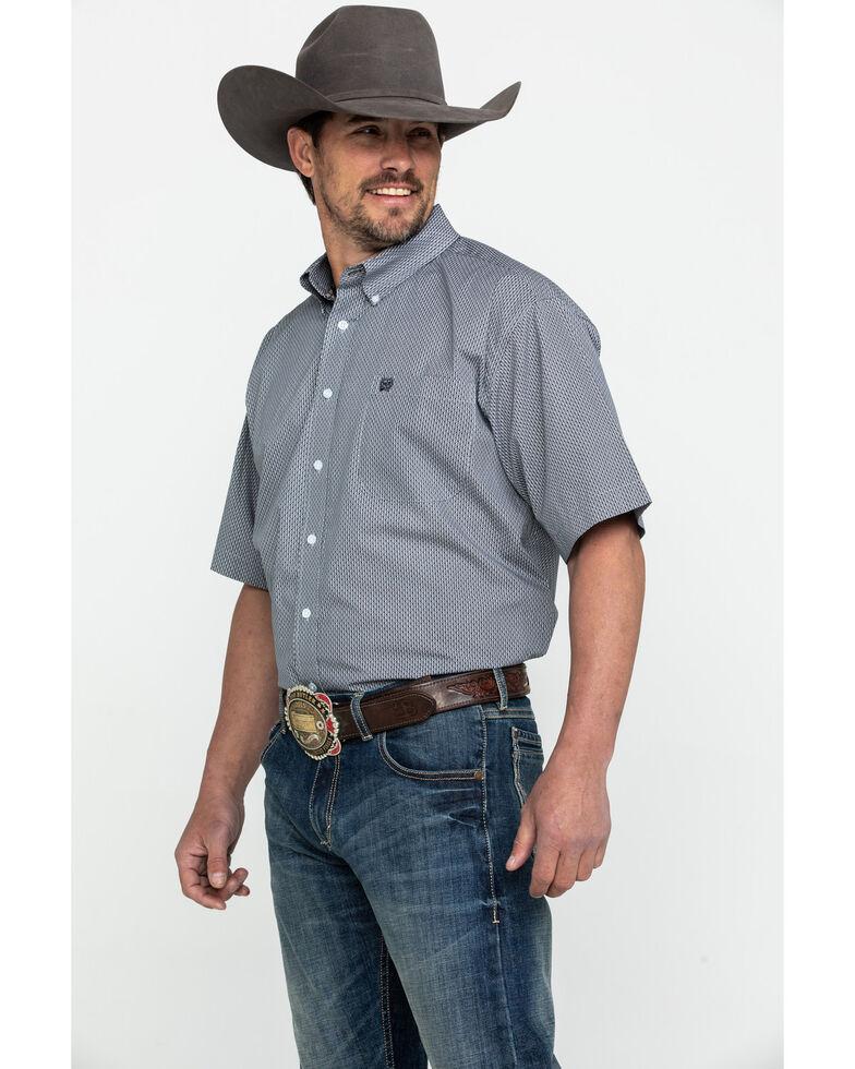 Cinch Men's Grey Geo Print Short Sleeve Western Shirt , Grey, hi-res