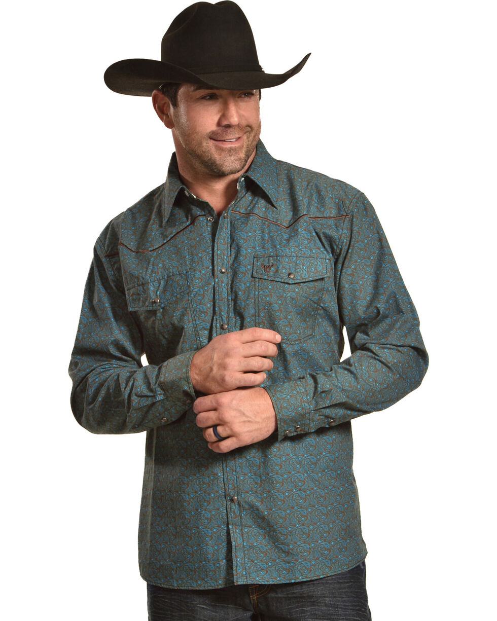 Cowboy Hardware Men's Mini Paisley Long Sleeve Western Snap Shirt, Green, hi-res