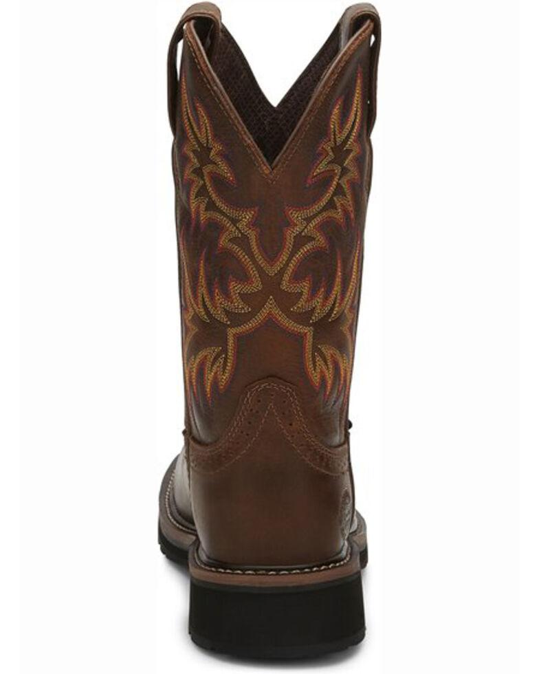 """Justin Women's Stampede 11"""" Steel Toe Western Work Boots, Brown, hi-res"""