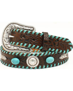 Nocona Women's Turquoise Laced Western Belt, Brown, hi-res