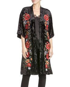 Miss Me Women's Floral Crushed Velvet Kimono, Black, hi-res