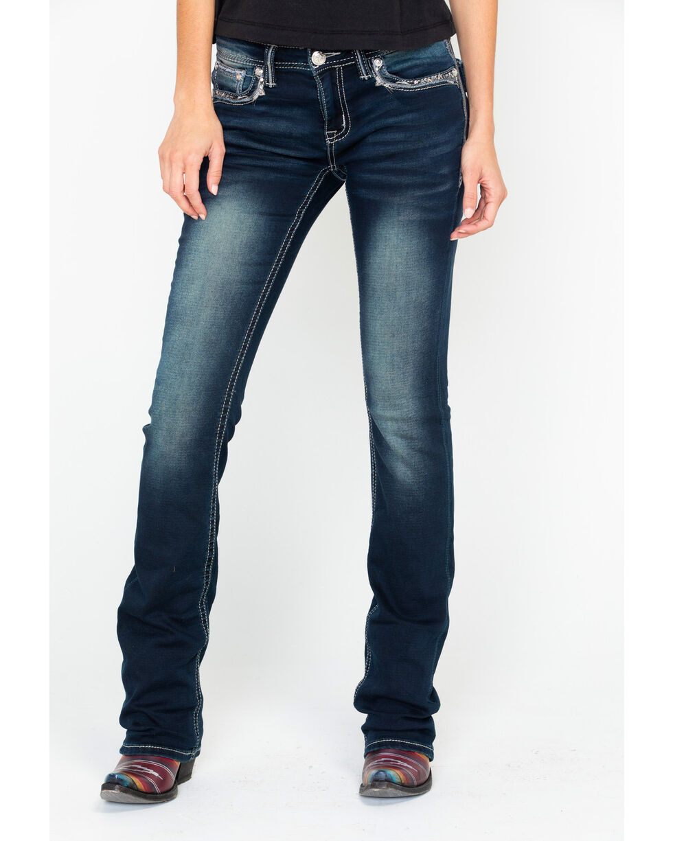 Grace In LA Easy Fit Embroidered Boot Jeans , , hi-res