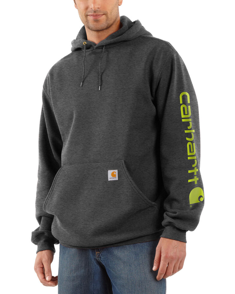 Carhartt Logo Hooded Sweatshirt, Medium Grey, hi-res