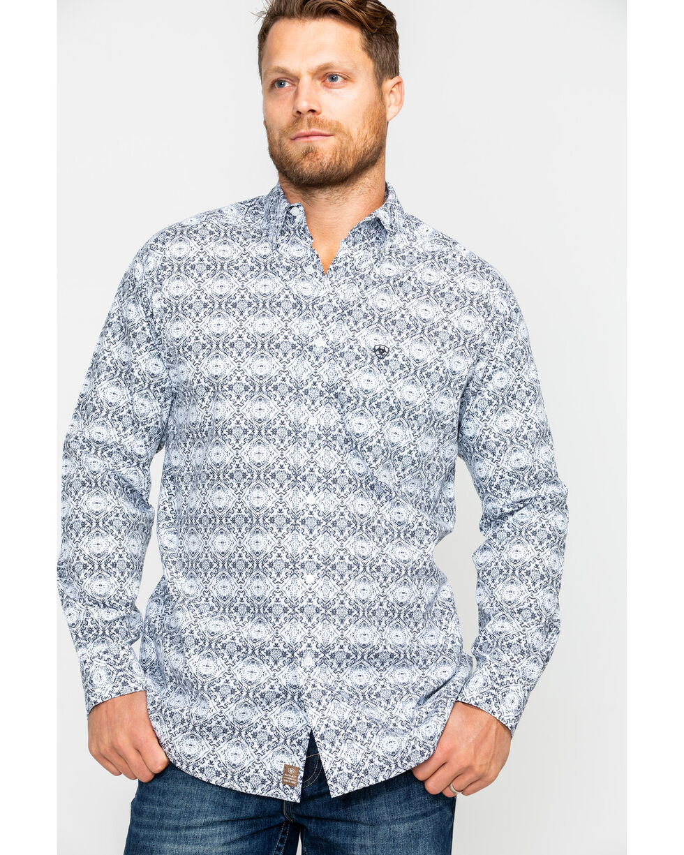 Ariat Men's Frasier Aztec Long Sleeve Western Shirt, White, hi-res