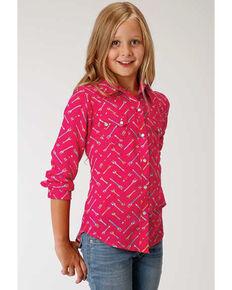 Five Star Girls' Arrow Print Long Sleeve Western Shirt, Pink, hi-res