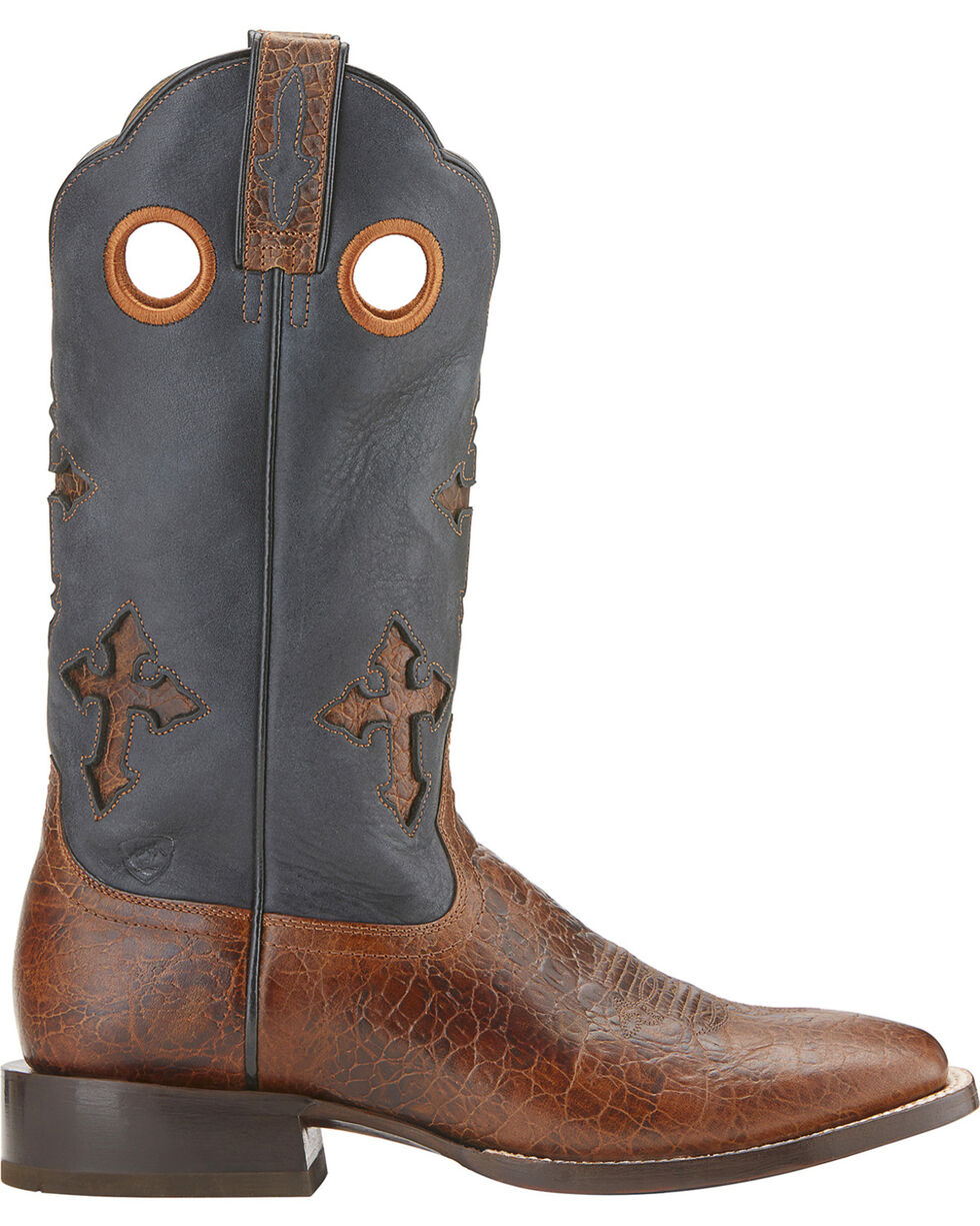 Ariat Ranchero Cowboy Boots - Wide Square Toe, Brown, hi-res