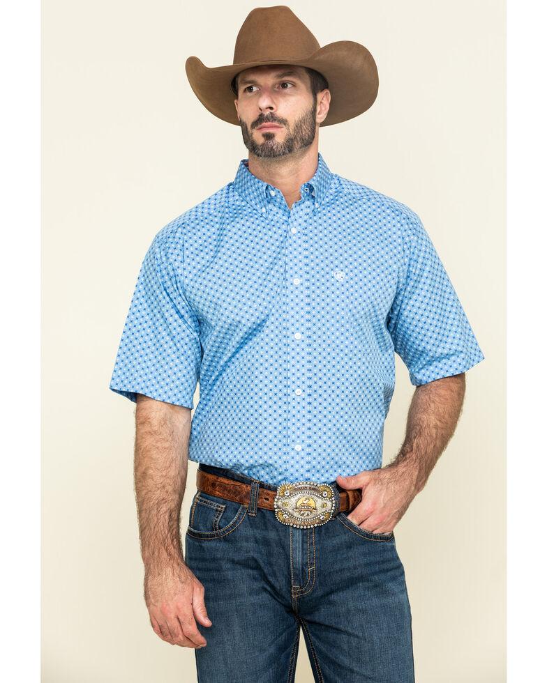 Ariat Men's Wrinkle Free Waldwick Geo Print Short Sleeve Western Shirt - Tall , Blue, hi-res