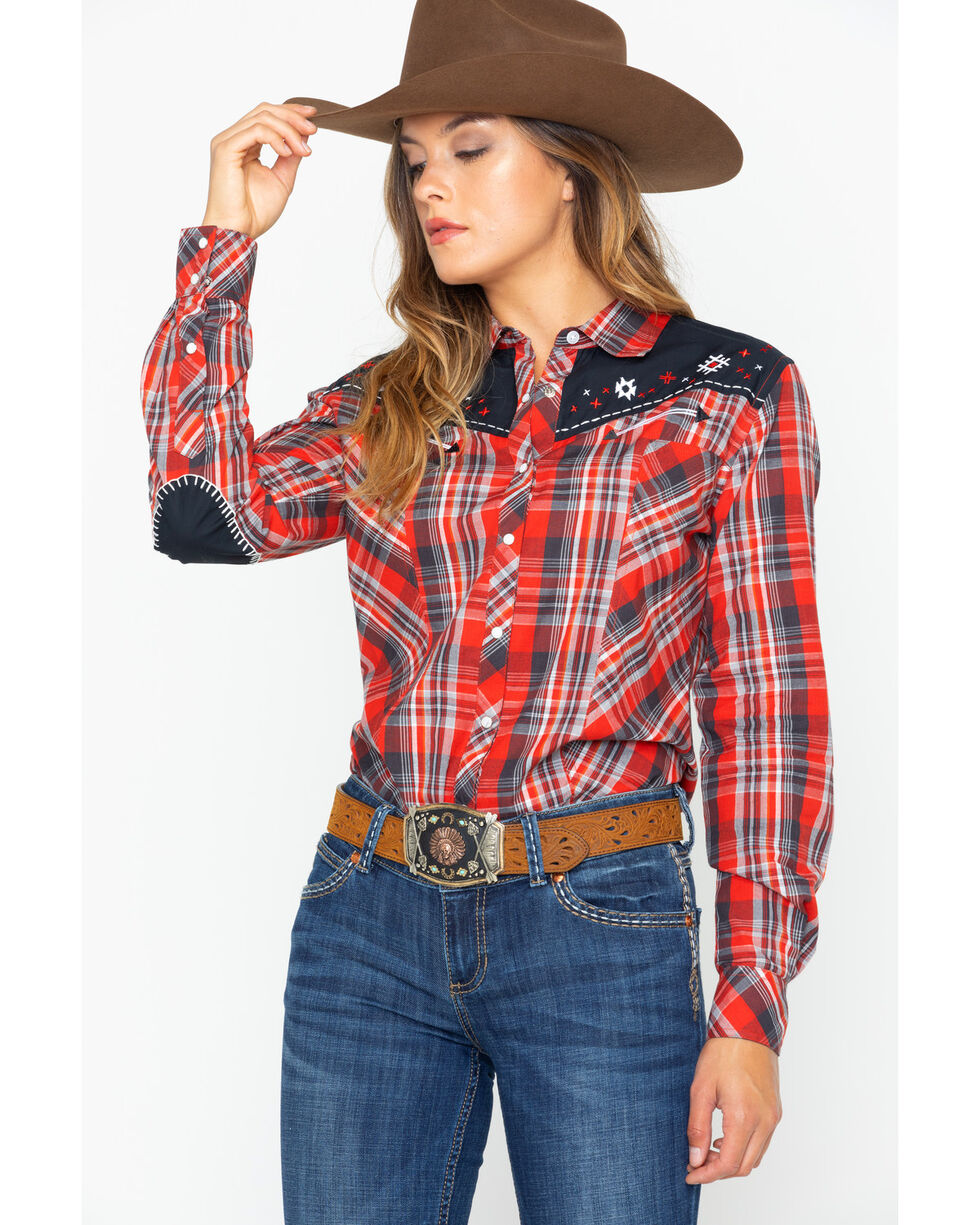 Panhandle Women's Plaid Aztec Embroidered Long Sleeve Shirt , Red, hi-res