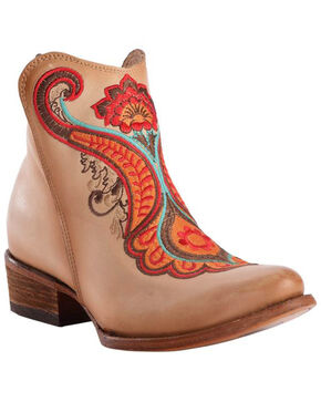 Corral Women's Natural Orange Embroidered Booties - Round Toe, Natural, hi-res