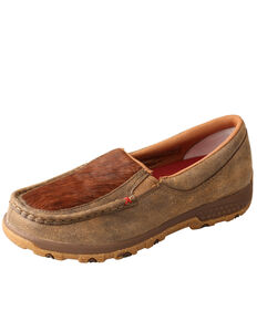 Twisted X Brindle Cell Stretch Driving Shoes - Moc Toe, Brown, hi-res