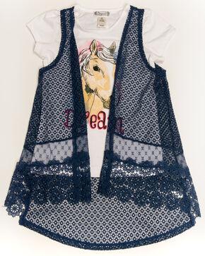 Shyanne Girls' Dream Horse 2fer Vest, Navy, hi-res