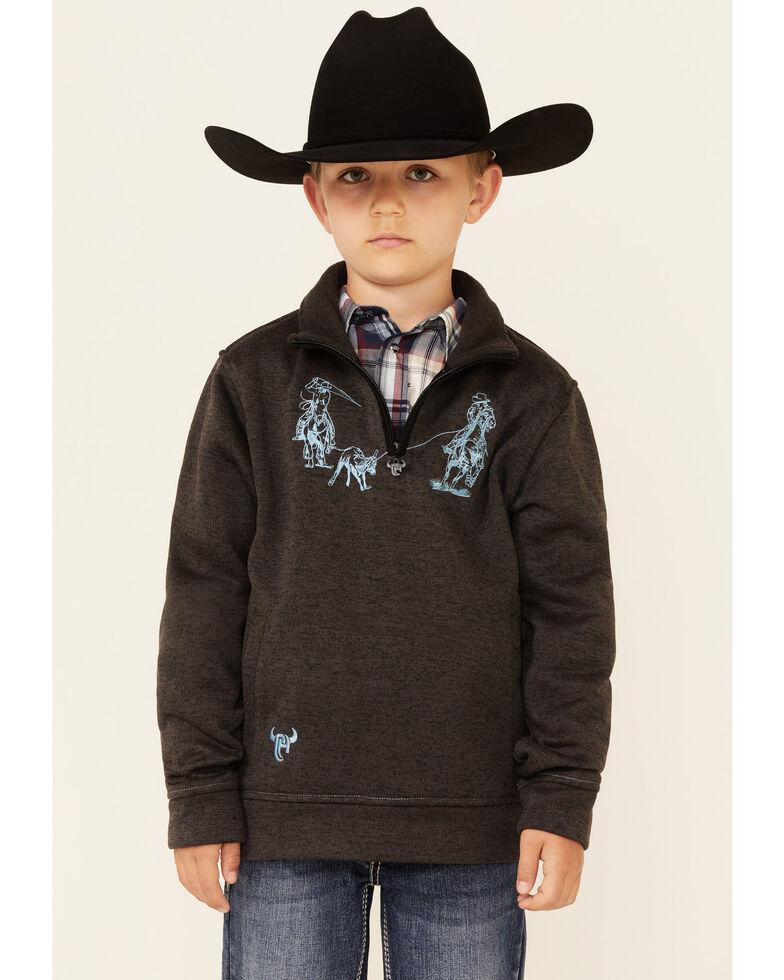 Cowboy Hardware Boys' Charocoal Roping 1/2 Zip Pullover , Charcoal, hi-res