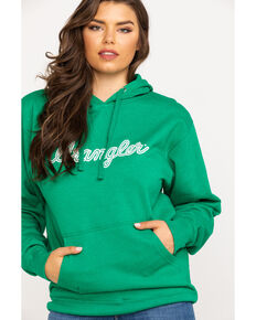 Wrangler Women's Kelly Green Logo Hoodie, Green, hi-res