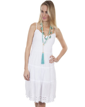 Cantina by Scully Women's Sun Burst Spaghetti Strap Dress, White, hi-res