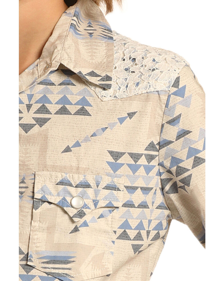 Rock & Roll Cowgirl Girls' Ivory Triangle Lace Yoke Long Sleeve Western Shirt , Ivory, hi-res