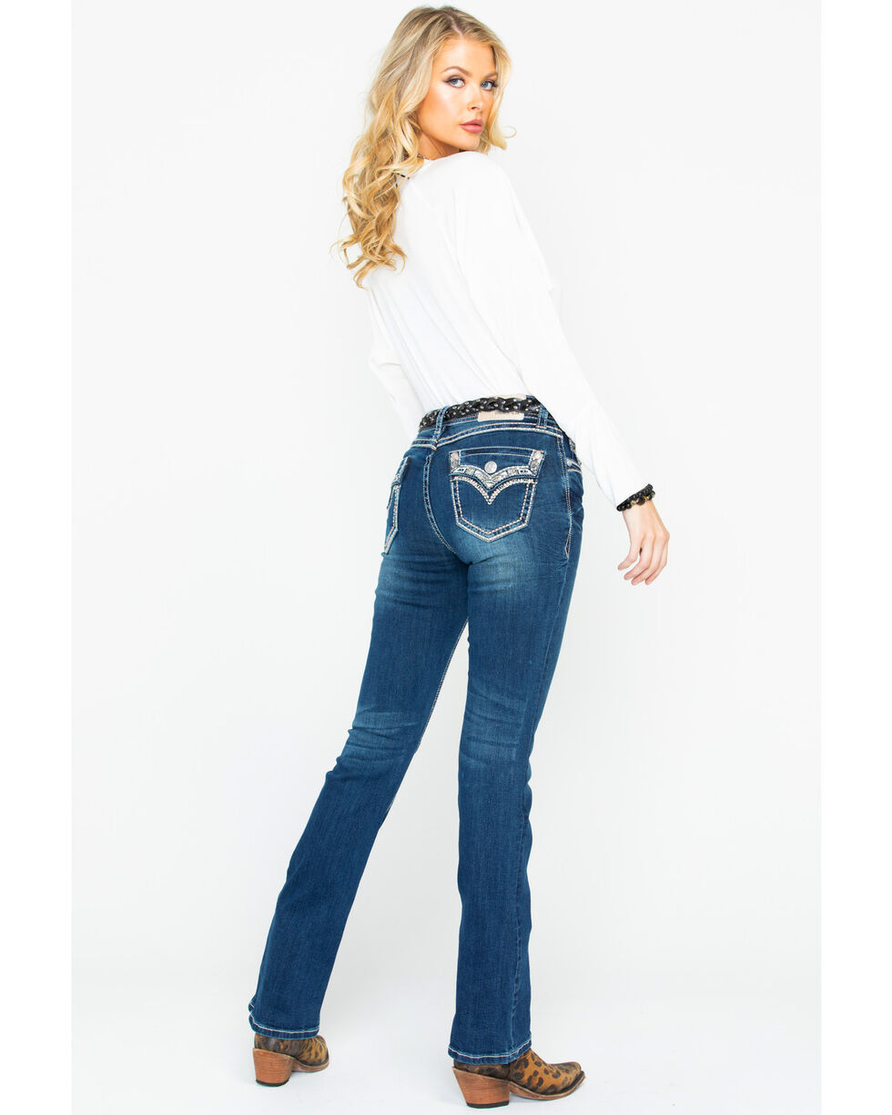 Grace In LA Womens' Embroidered Whipstitch Boot Jeans   , Blue, hi-res